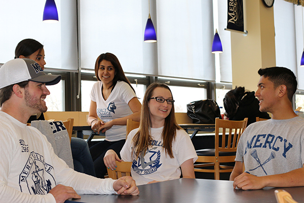 Students in Hudson View Cafe