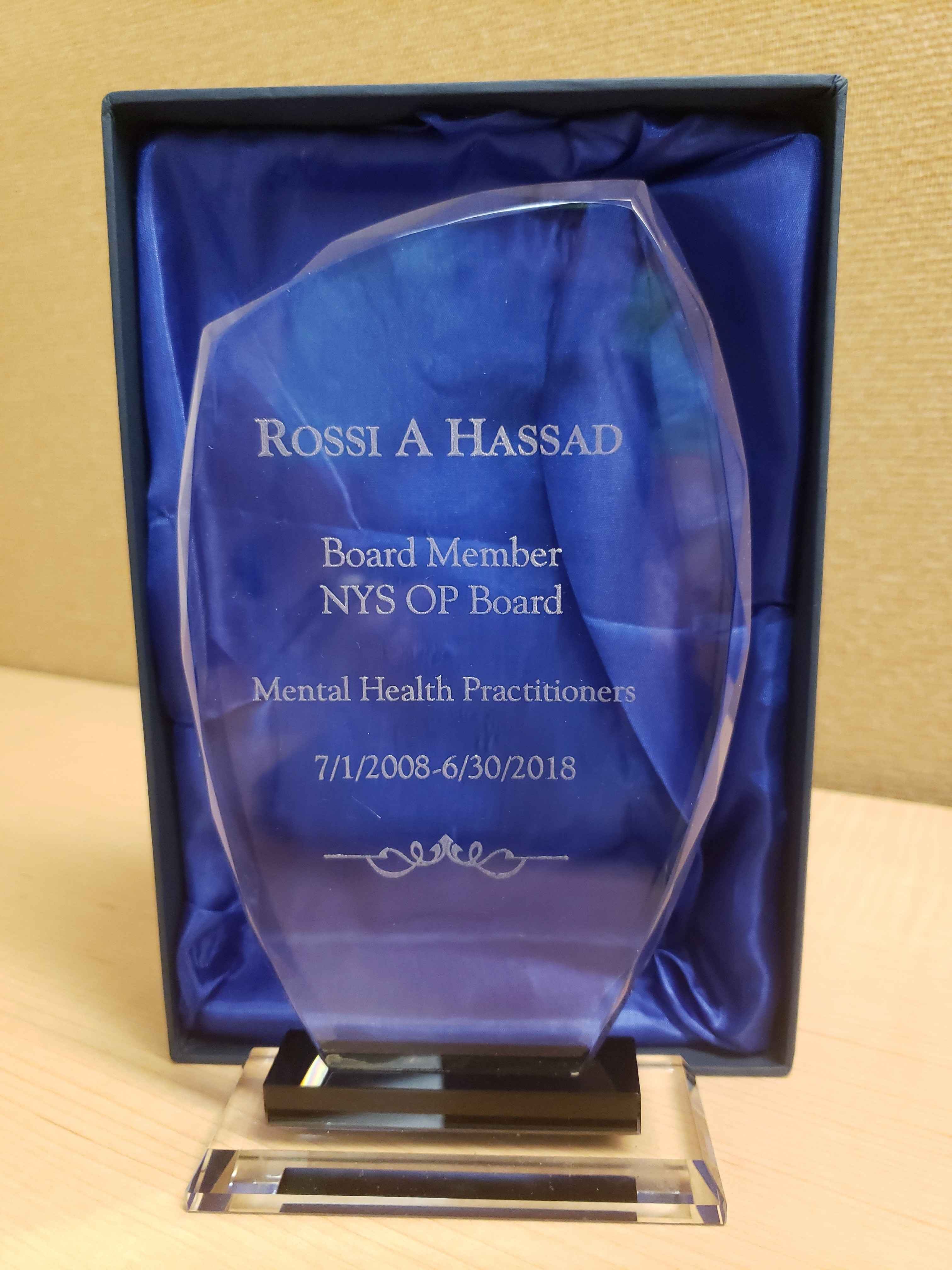 Award for Dr. Rossi Hassad
